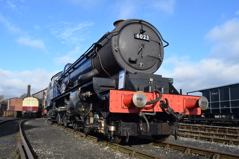 "GWR 6000 King Class no. 6023 ""King Edward II"" at Didcot Railway Centre."