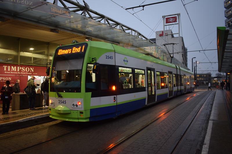 Croydon Tramlink Bombardier Flexity CR4000 tram no. 2545 at East Croydon station on the 1 to Elmers End.