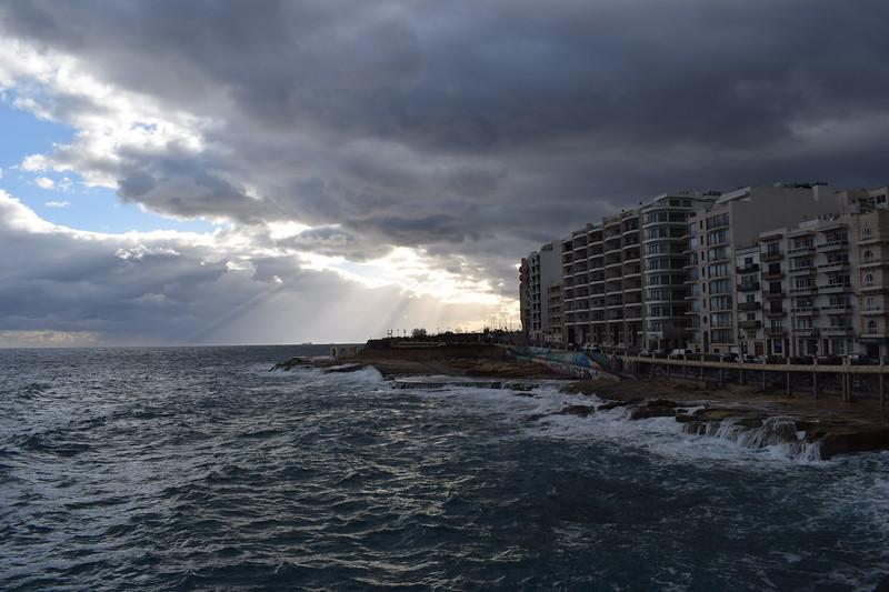 The coast of Sliema, Malta.