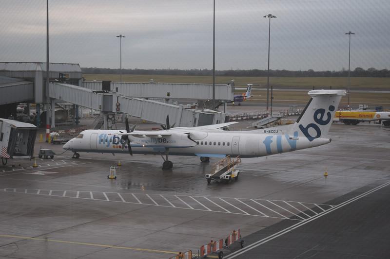 Flybe Bombardier Dash-8 Q400 G-ECOJ at Birmingham Airport.