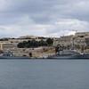 Malta Navy battleships moored in Valletta.