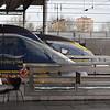 Eurostar Class 373 and 374 sets at London St. Pancras International.