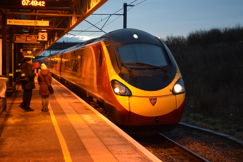 Virgin Trains Class 390 Pendolino no. 390117 (probably) arrives at Milton Keynes Central with a Manchester service.