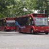 "Redline Optare Solo MX58KYS in Aylesbury on the ""Water Rider"" 6 to Watermead followed by sister MX58KYT on the 2."