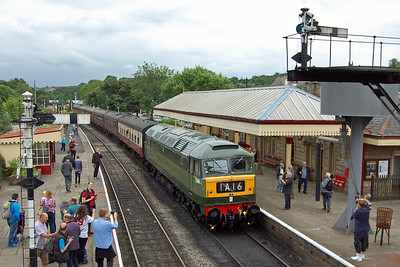 47402 draws one or two admiring glances as it waits amongst the semaphores of Ramsbottom for the arrival of a southbound train (07/07/2017)