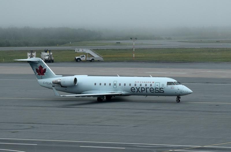 Jazz Aviation Air Canada Express Bombardier CRJ-200 C-FZJA at Halifax Airport.