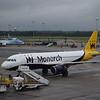 Monarch Airbus A320 G-ZBAH at Birmingham Airport.