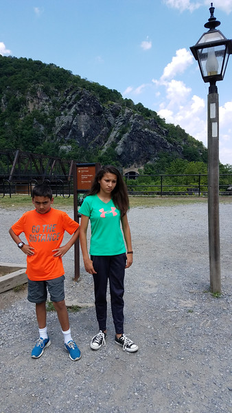 Troops starting to lose patience with General Dad's 100 degree battlefield tours. At Harpers Ferry on Danny and Kiddos' 2017 Road Trip East