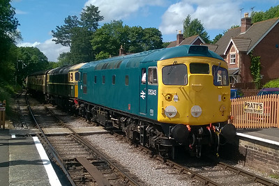 26043 pilots 33057 into Crowcombe Heathfield with the 1345 from Minehead to Bishops Lydeard. The train had been delayed by problems with one of a pair of Class 20s on an earlier service which had blocked the single line (11/06/2017)