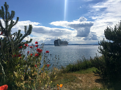 Michelon Man cloud above the departing cruise ship