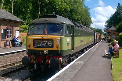 47840 is pictured again at Crowcombe Heathfield with the 1455 from Bishops Lydeard to Minehead whilst awaiting the arrival of a late-running eastbound train (11/06/2017)