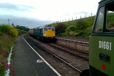 26043 arrives at Blue Anchor with the 1755 Bishops Lydeard - Minehead as 47840 waits patiently to continue its journey (09/06/2017)