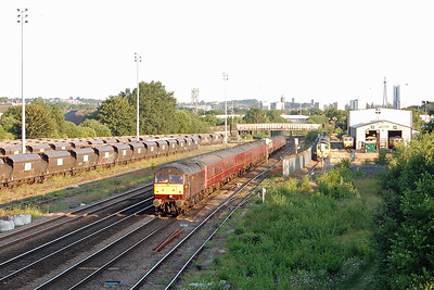 An early morning view of 47804 passing Freightliner's Midland Road Depot in Hunslet with the 5Z45 0230 Carnforth Steamtown - York ECS move for the 'Dalesman' charter to Carlisle (19/06/2017)