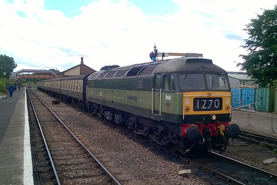 Had the sun been shining my camera (well, phone) would have been pointing straight into it, hence this deliberately overcast view of 47840 at Williton whilst working the 1455 from Bishops Lydeard to Minehead (11/06/2017)