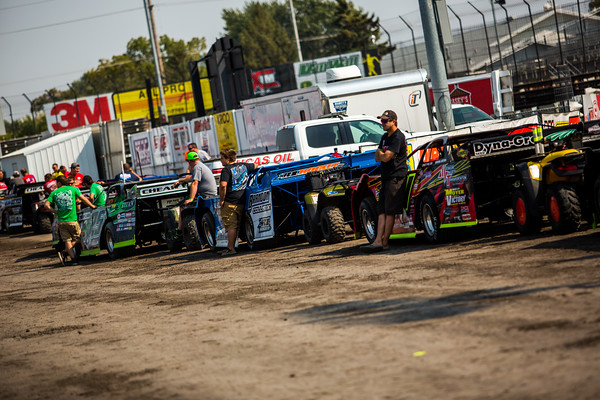 Lucas Oil Late Model Dirt Series tech inspection line