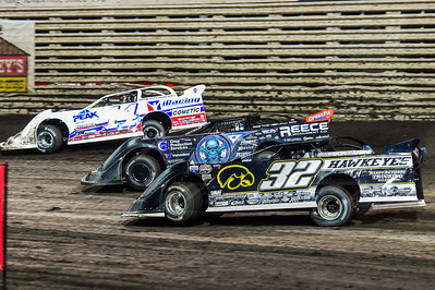 Chad Stapleton (32), Scott Bloomquist (0) and Darrell Lanigan (14)