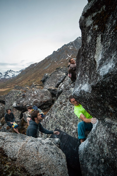 Brian pulls through some moves of his own on a send of this tricky V5. Near midnight on a long Alaskan summer day.