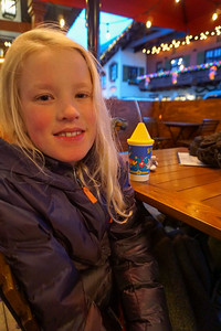 Dining al fresco in the snow for Amelia's birthday!
