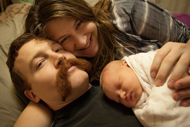 First official family portrait with Luna at three days old.