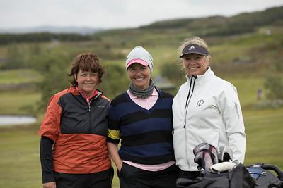 Rut Hreinsdóttir, Kristín Dagný Magnúsdóttir og Linda Björk Bergsveinsdóttir léku saman á fyrsta keppnisdegi í Grafarholtinu.