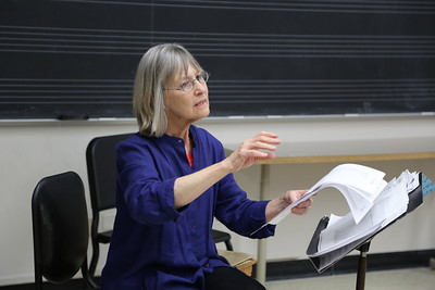 "A participant in the ""Harp Music and Methods of the Golden Age"" class taught by Jennifer Sayre at the Madison Early Music Festival in the Humanities Building at the University of Wisconsin-Madison Mead Witter School of Music."