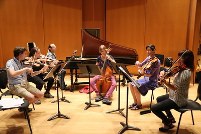 "Participants in the ""Quixote in Hamburg"" class taught by Jude Ziliak and John Chappell Stowe, at the Madison Early Music Festival in the Humanities Building at the University of Wisconsin-Madison Mead Witter School of Music."