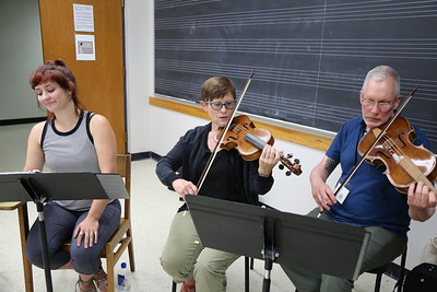 "Participants in the ""Making of Zarzuela"" class taught by Brandi Berry and Paul Rowe, at the Madison Early Music Festival in the Humanities Building at the University of Wisconsin-Madison Mead Witter School of Music."