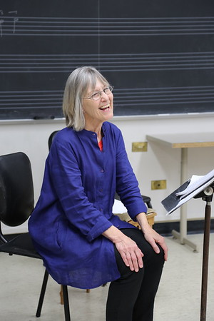 """Jennifer Sayre, teacher for the """"Harp Music and Methods of the Golden Age""""class at the 2017 Madison Early Music Festival in the Humanities Building at the University of Wisconsin-Madison Mead Witter School of Music."""