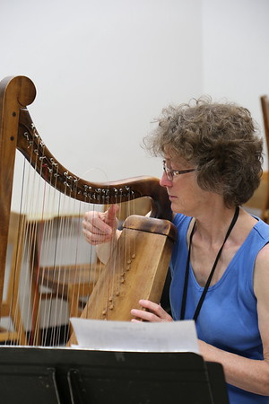 """A participant in the """"Harp Music and Methods of the Golden Age""""class taught by Jennifer Sayre at the 2017 Madison Early Music Festival in the Humanities Building at the University of Wisconsin-Madison Mead Witter School of Music."""