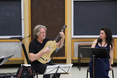 """Survey of Spanish Song"" class taught by Grant Herreid (left)  and Nell Snaidas (right) at the 2017 Madison Early Music Festival in the Humanities Building at the University of Wisconsin-Madison Mead Witter School of Music."