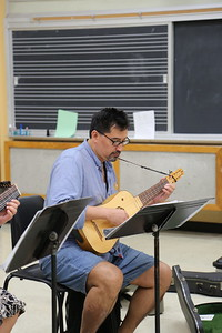 "A participant in the ""Survey of Spanish Song"" class taught by Grant Herreid and Nell Snaidas at the 2017 Madison Early Music Festival in the Humanities Building at the University of Wisconsin-Madison Mead Witter School of Music."