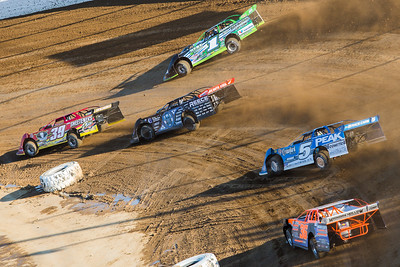Tim McCreadie (39), Josh Richards (1), Scott Bloomquist (0), Don O'Neal (5) and Matt Irey (36)