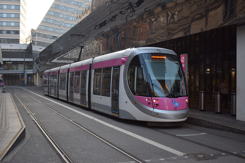 Midland Metro CAF Urbos 3 tram no. 31 at the Birmingham New Street 'Grand Central' stop.