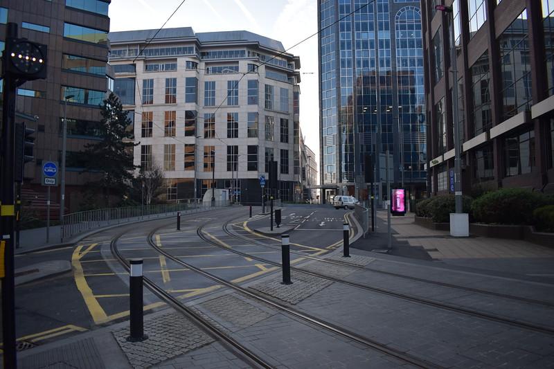 Midland Metro tram tracks at Colmore Row, Birmingham.