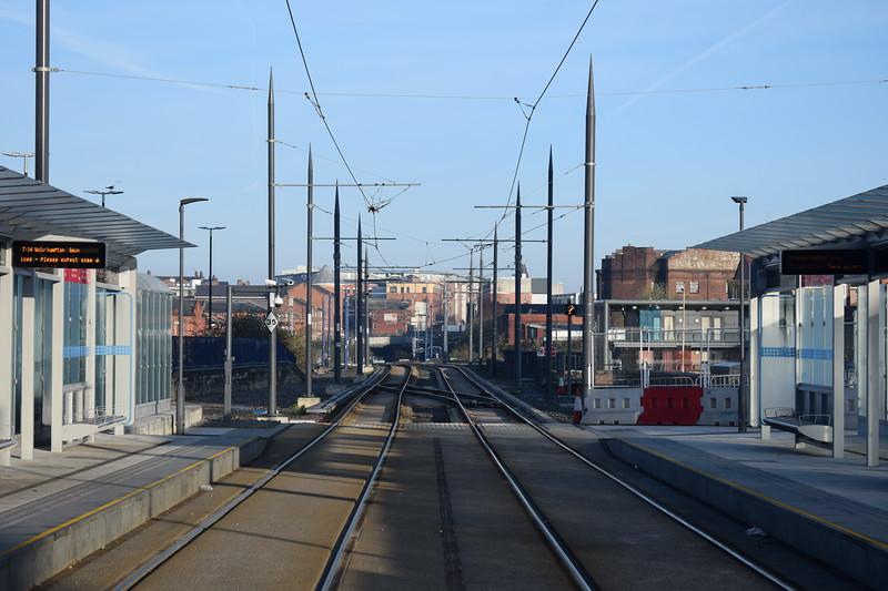The Midland Metro tracks at St. Chads, AKA Birmingham Snow Hill.