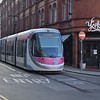 Midland Metro CAF Urbos 3 tram no. 31 at the current end of the line near Birmingham New Street station.