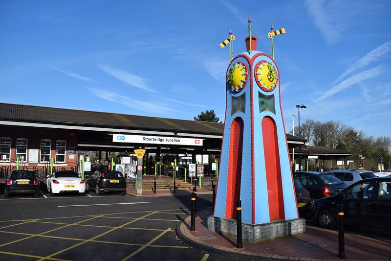 Stourbridge Junction station and clocktower artwork.