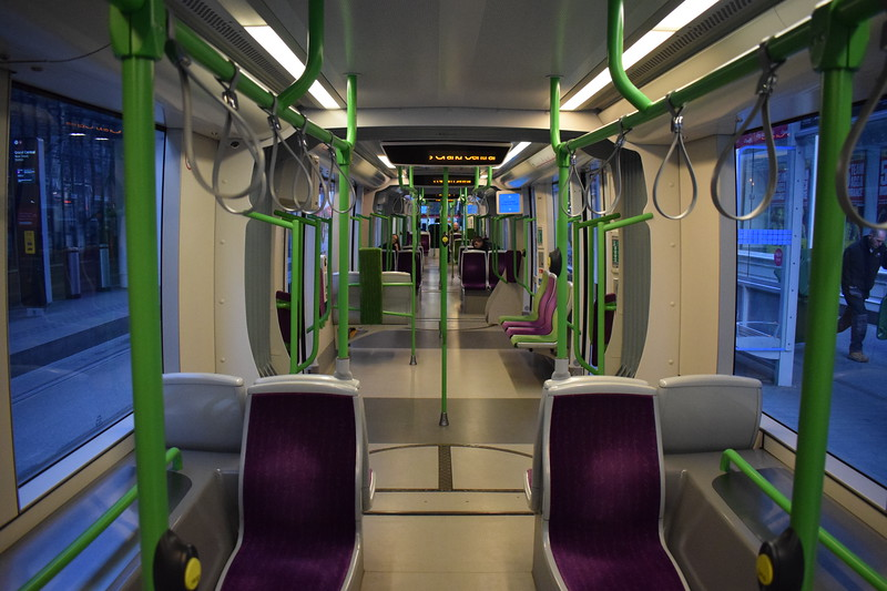Midland Metro CAF Urbos 3 tram no. 31 interior at the Birmingham New Street 'Grand Central' stop.