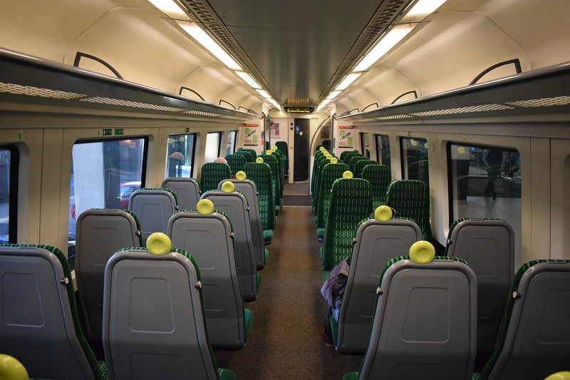London Midland Class 172 Turbostar no. 172331 interior at Birmingham Snow Hill on a Stourbridge service.