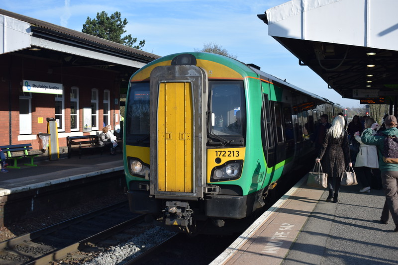 London Midland Class 172 Turbostar no. 172213 at Stourbridge Junction on a Worcester service.