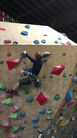 Connor demonstrating his bouldering skills