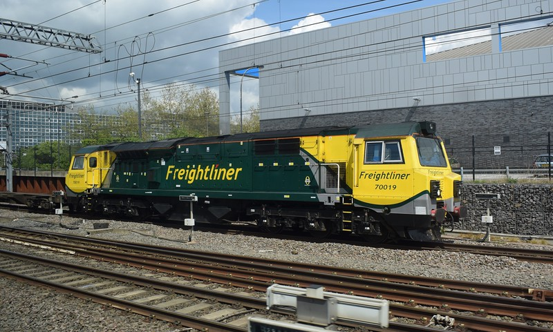 Freightliner Class 70 no. 70019 passing Milton Keynes Central.
