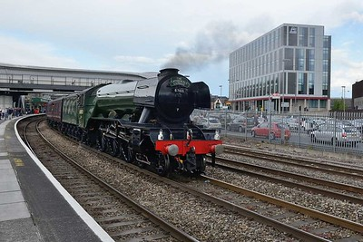 19 May 2017 :: LNER A3 Class 4-6-2 no 60103 Flying Scotsman is being taken to be turned on the triangle of lines at Maindee and will work the evening circular trip 1Z72 from Newport to Gloucester and Bristol Parkway