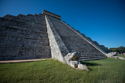 Steps on Chichen Itza main pyramid, El Castillo.  When the light is right, just the snake is lit up.