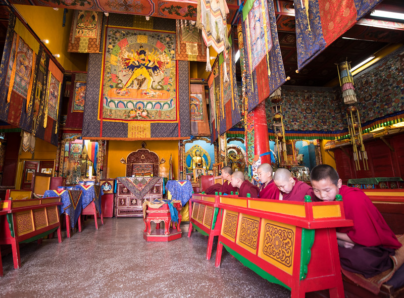 In Ulaan Baator.  Young monks chanting.