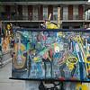 Street artist exhibit their creations in Jackson Square
