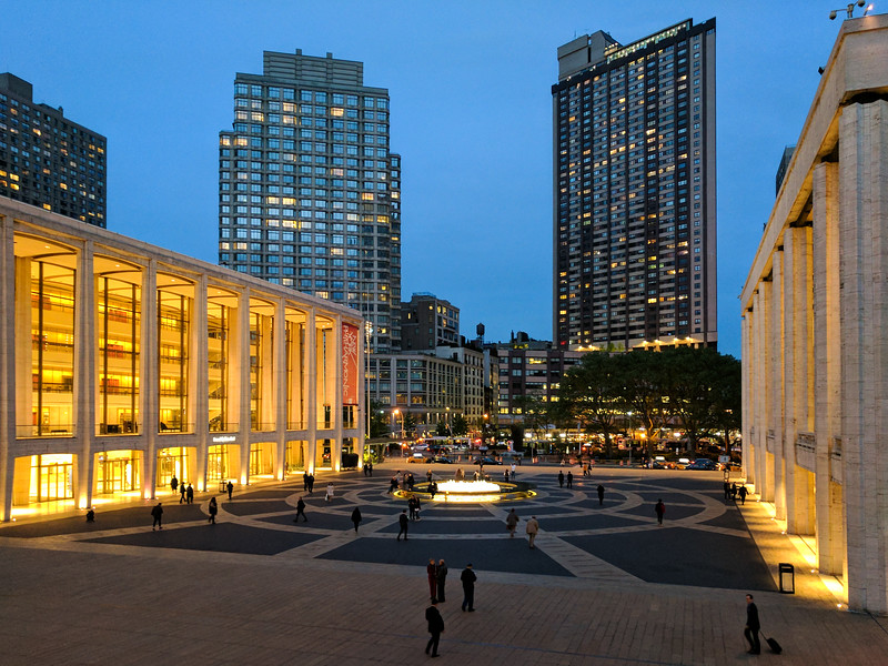 Lincoln Center in the evening, during opera intermission