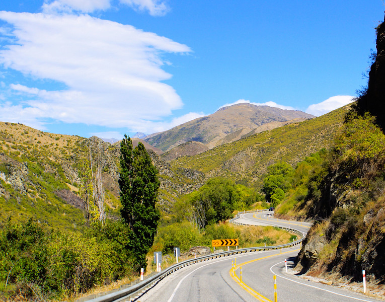 Driving along Highway 6 to Queenstown