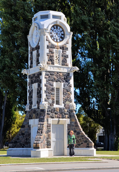 Anne at the Christchurch clock tower