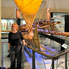 Anne with Maori sailing vessel - Auckland Museum